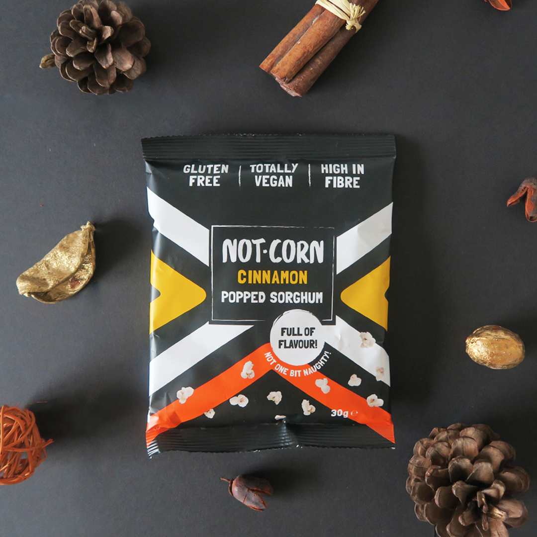 not.corn cinnamon packaging by graphic designer melissa carne in cornwall