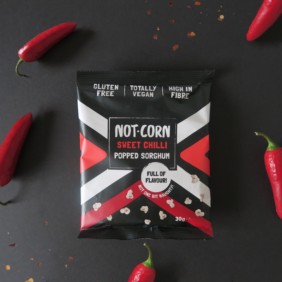 not.corn sweet chilli packaging designer by freelance graphic designer in cornwall