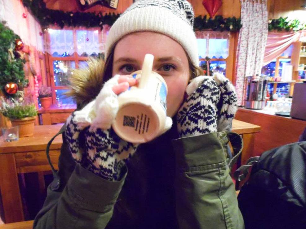 berlin chistmas market drinking mulled wine
