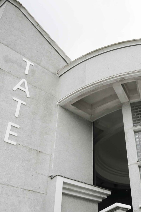 the tate sign in saint ives in cornwall