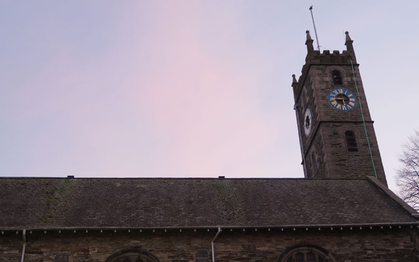 falmouth church at sunset