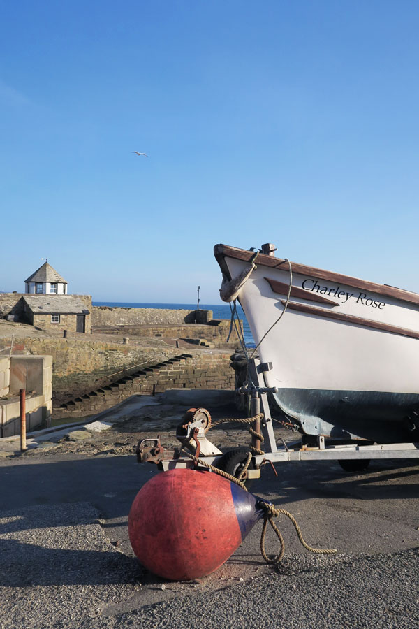 boat and buoy at charlestown in cornwall