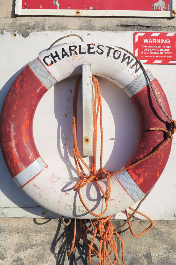 life ring at charlestown in cornwall