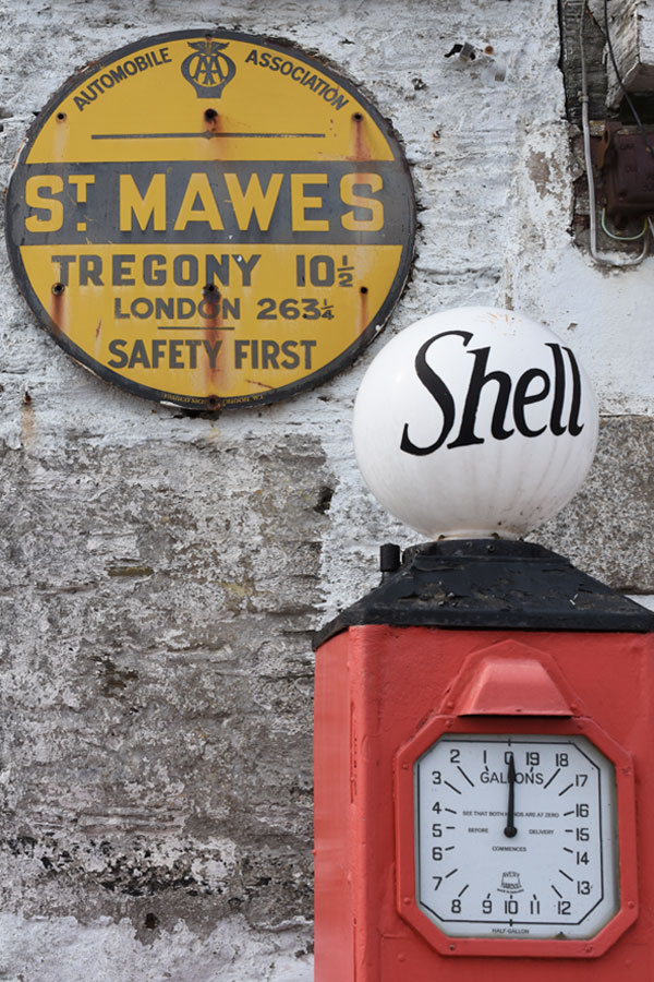retro shell garage at st mawes in cornwall