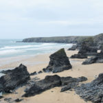 bedruthan stacks on beach near newquay in cornwall
