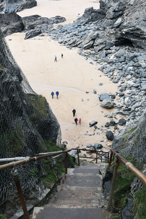 bedruthan steps down to beach in cornwall