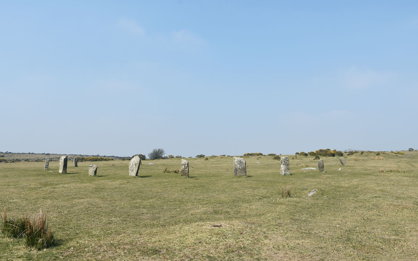 stone circle on bodmin moor near minions in cornwall