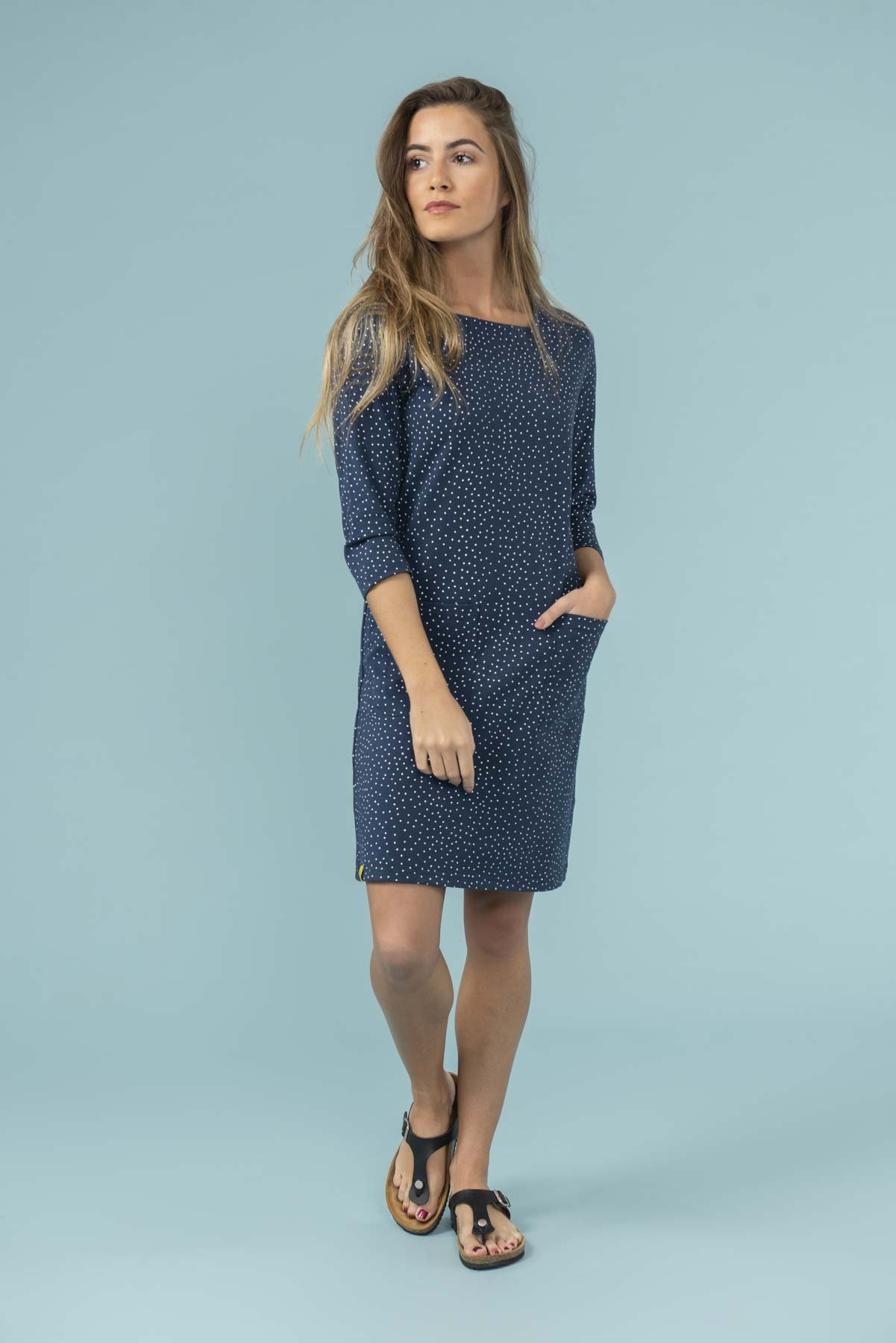 polka dot navy dress from lighthouse clothing