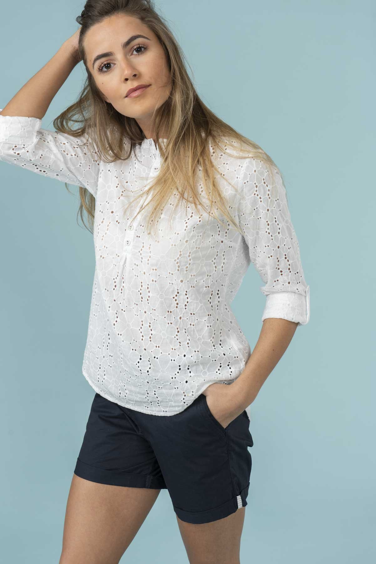 white broderie anglais shirt from lighthouse clothing