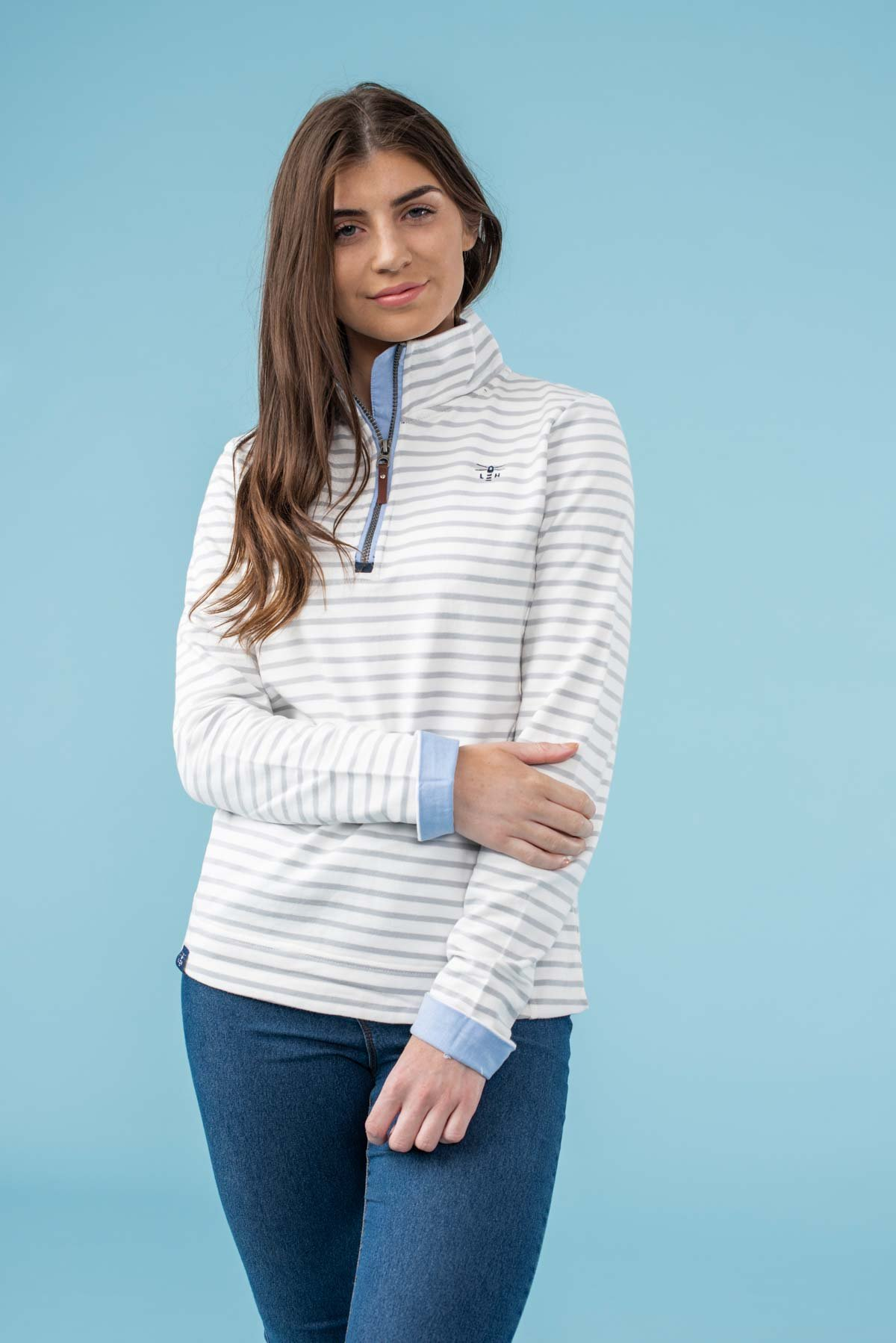 white striped sweat shirt from lighthouse clothing