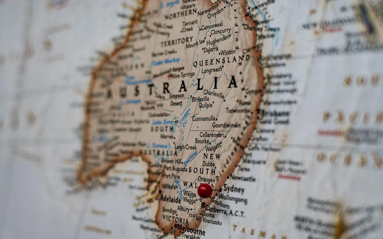 pin in map in sydney in australia