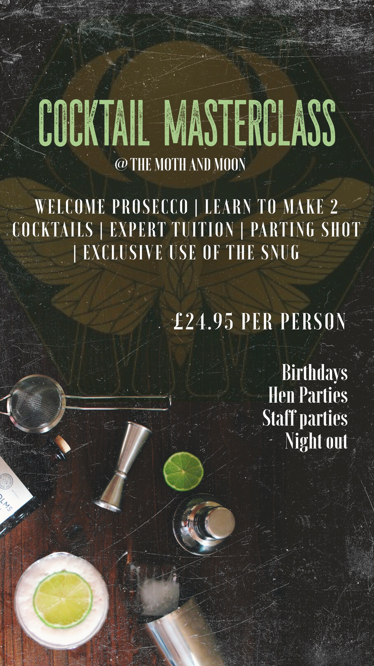 cocktail master class flyer for moth and the moon in falmouth in cornwall