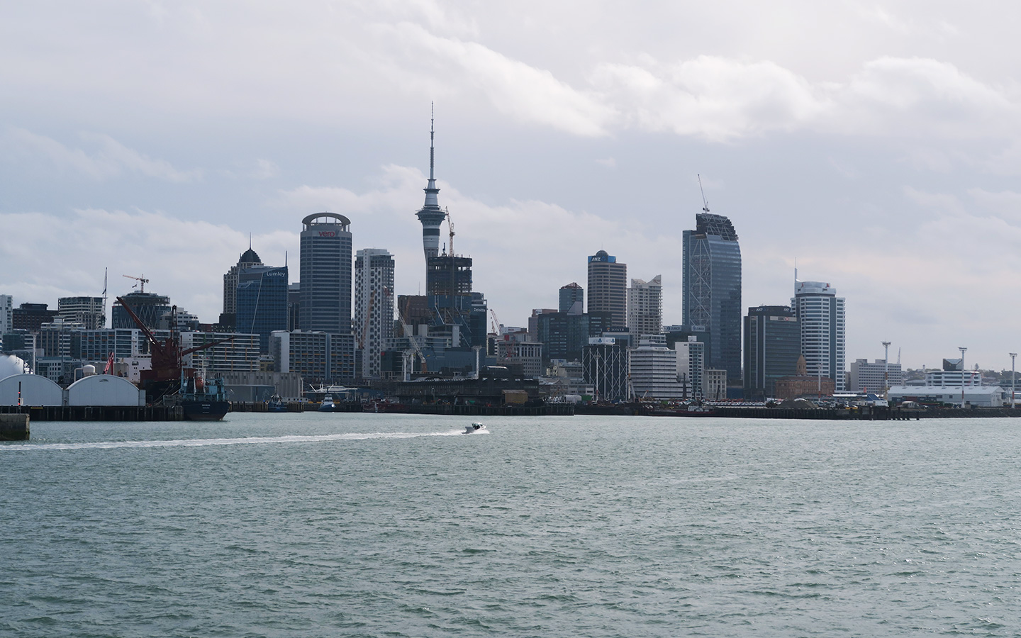 auckland skyline from ferry in new zealand