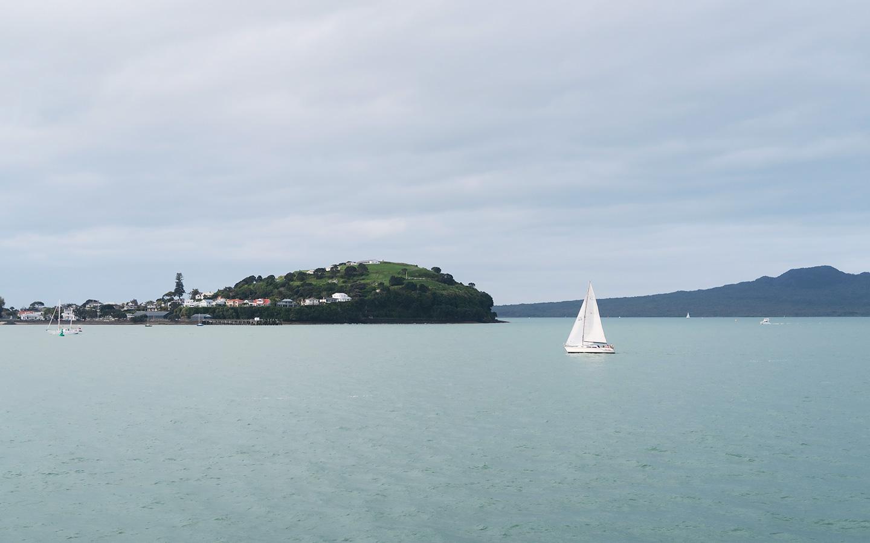 sail boat near waiheke island in auckland in new zealand