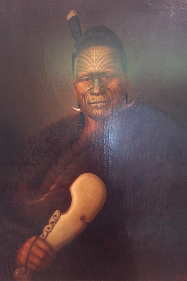 moari portrait in auckland art gallery in new zealand