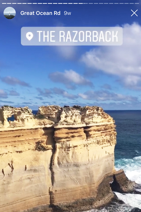 the razorback at the 12 apostles on the great ocean road in australia