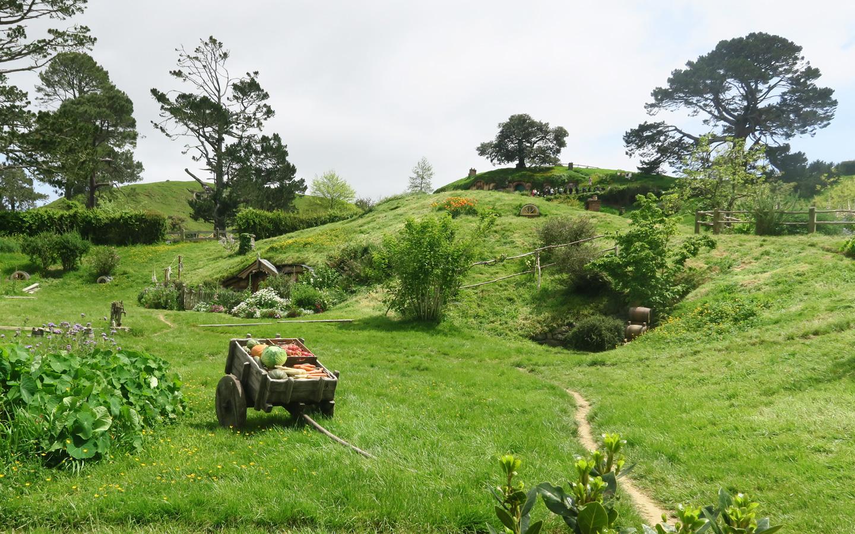 hobbiton garden landscape in new zealand