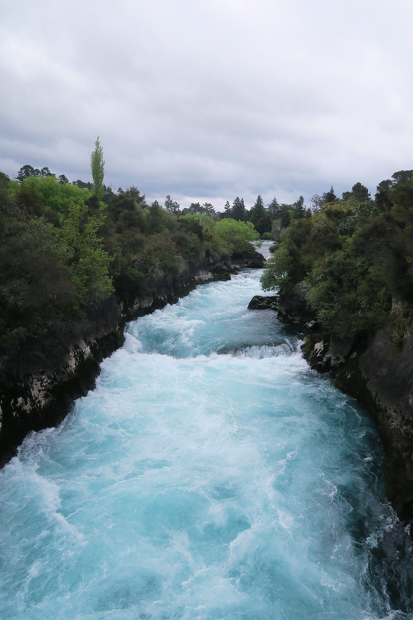 blue water river called huka falls in new zealand