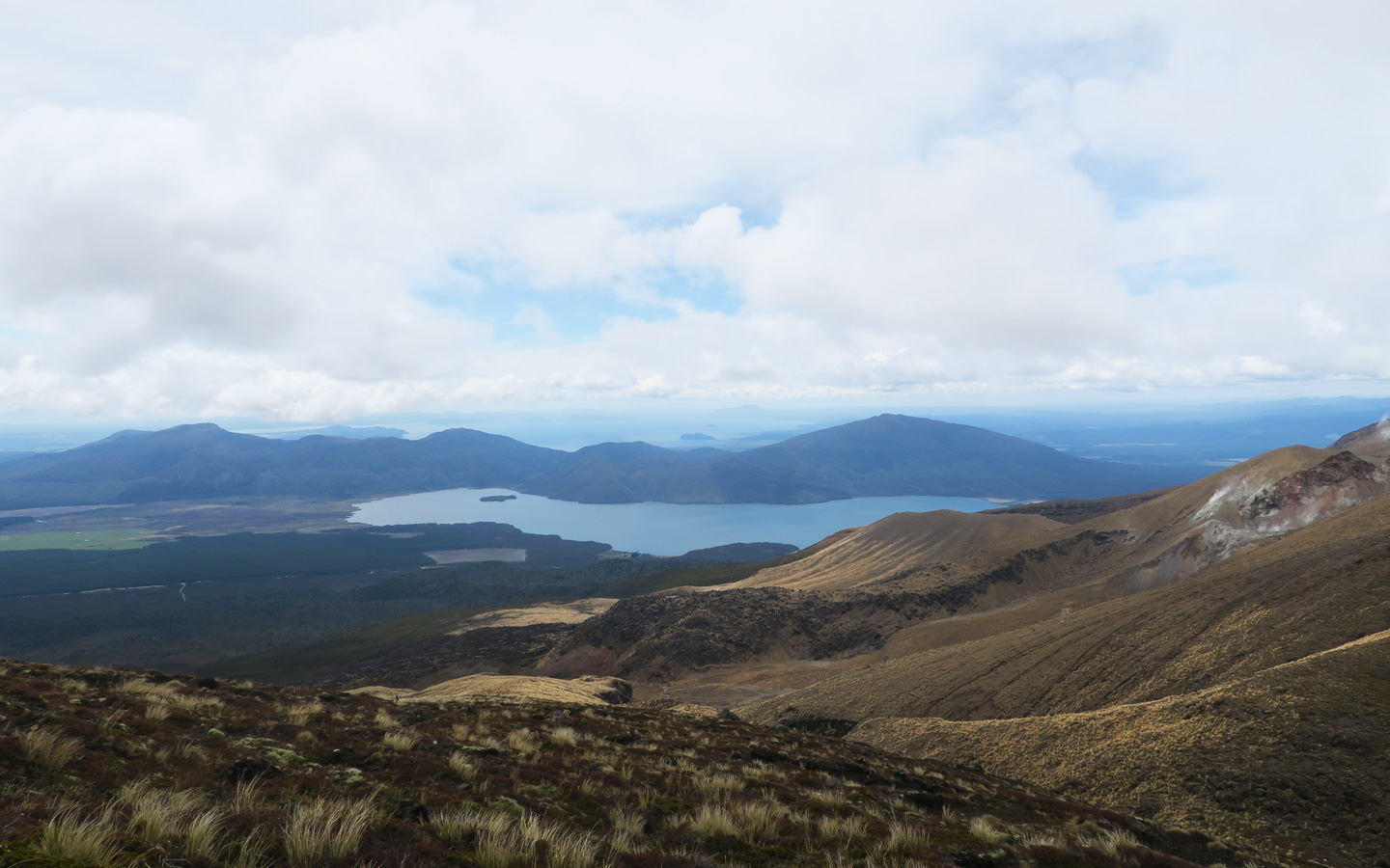 mountain view from the top of mount tongariro in new zealand