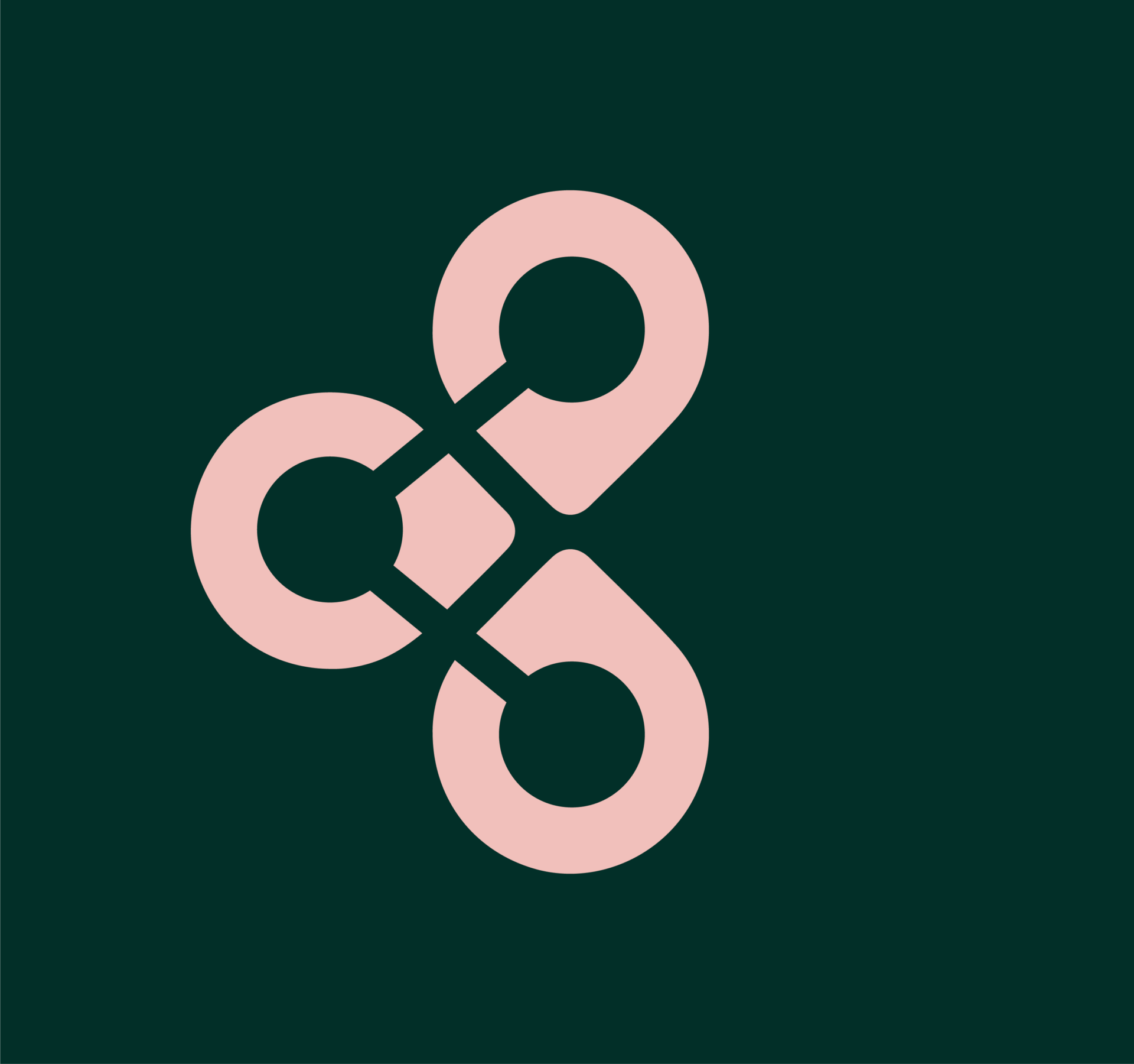 pink place icon logo on green background for the company now and then