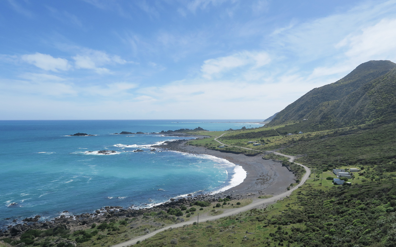 cape palliser in new zealand coastline where the sea meets the road