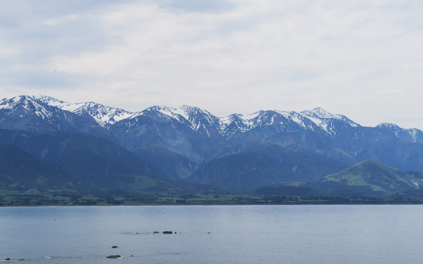 snow top mountains by sea in Kaikoura in New Zealand