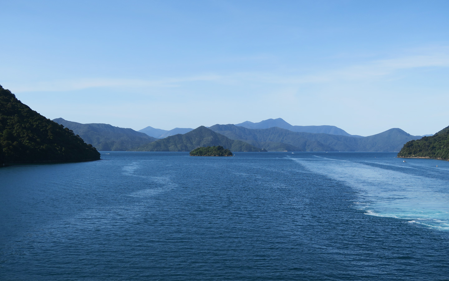 fjord land taken from the wellington to picton ferry in New Zealand