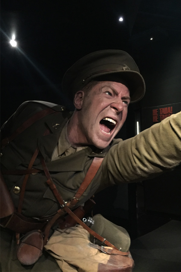 wax statue of soldier from gallipoli exhibition in te papa museum of new zealand