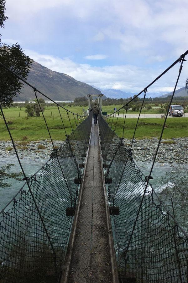rope bridge in glenorchy in new zealand