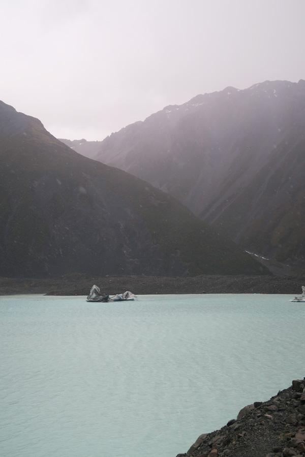 iceberg on lake tasman lake near mount cook in new zealand