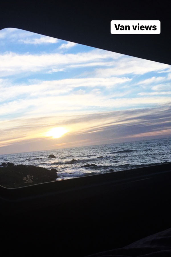 view of the sea from a campervan in new zealand
