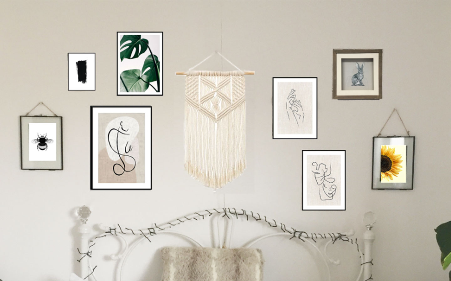 how to mock up a gallery wall of prints for your bedroom