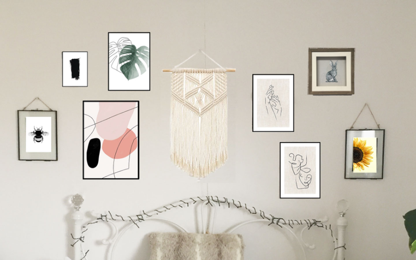 mock up of gallery wall using photoshop