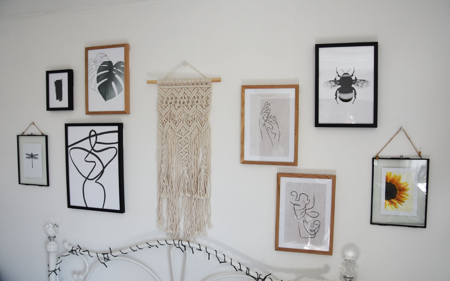 how to create a gallery wall in your bedroom using prints from desenio by melissa carne