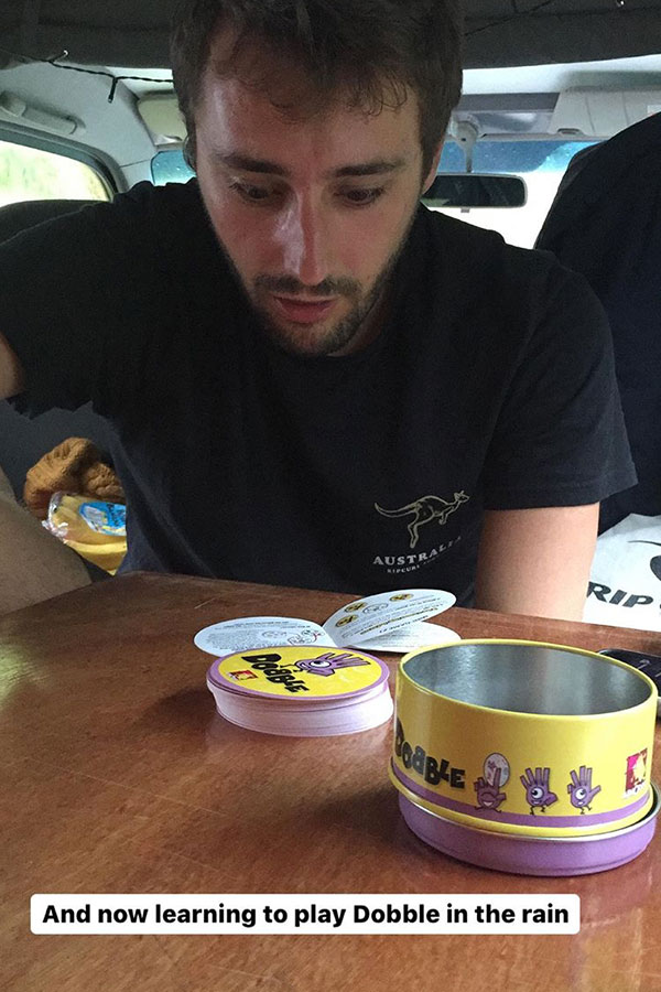 playing dobble in a cmapervan in new zealand