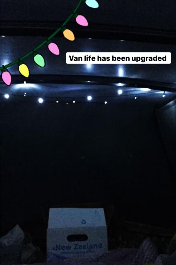 fairy lights inside campervan