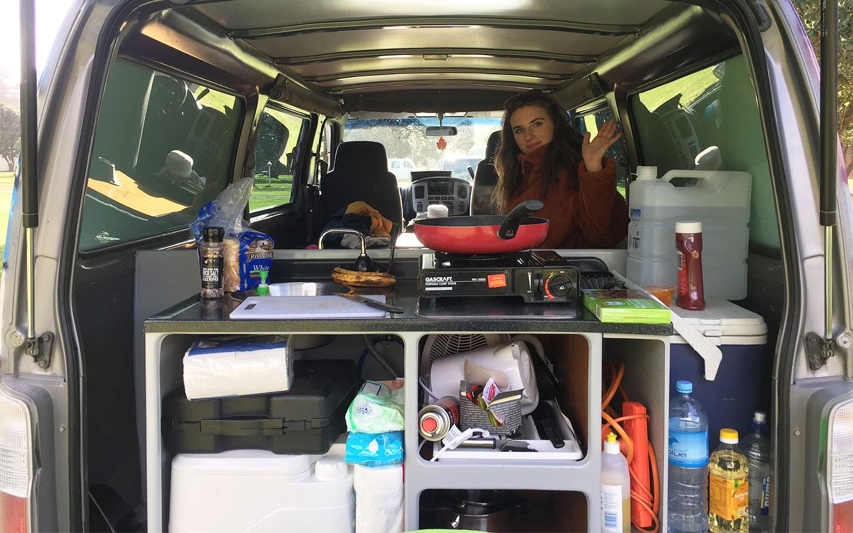 inside of an escape rental campervan