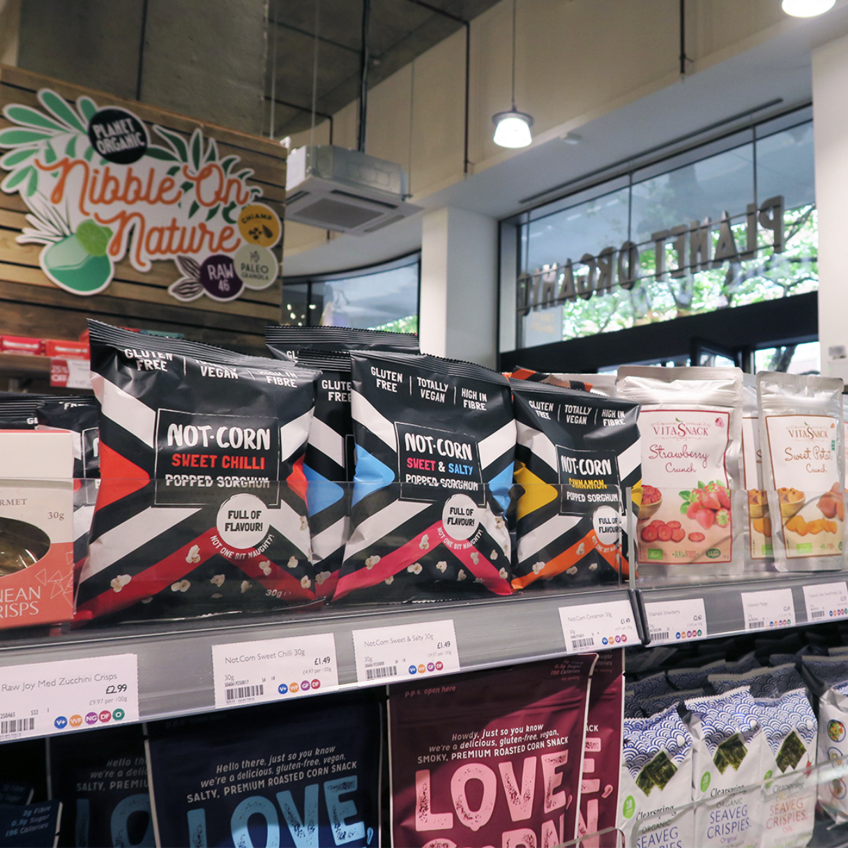 not.corn packaging design by freelance graphic designer