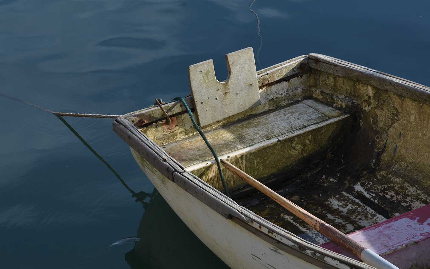 row boat in the harbour at mevagissey in cornwall