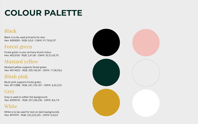 brand guideline booklet colour palette designed by graphic designer melissa carne