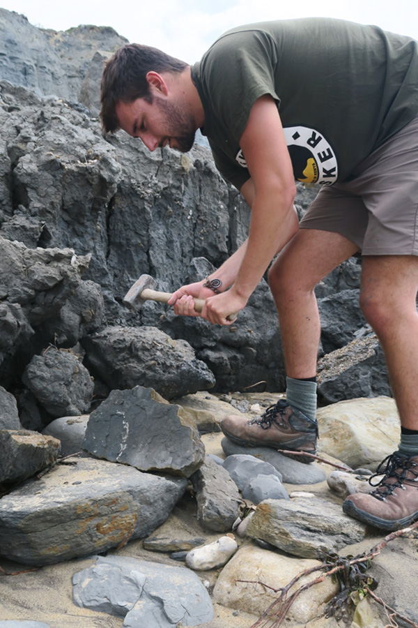 sam gill smashing rock to find fossils on the jurassic coast