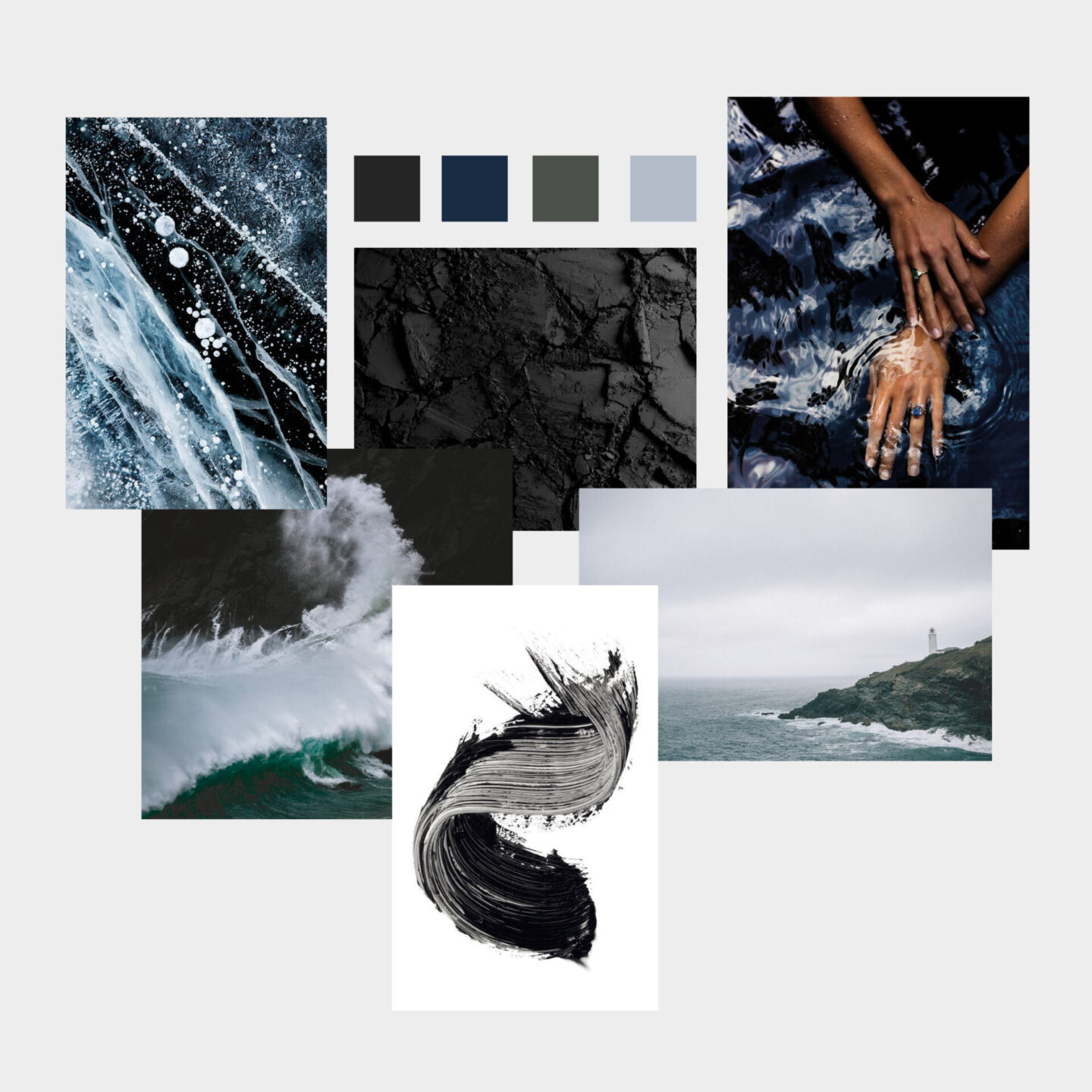 brand mood board and colour palette to help create a brand identity