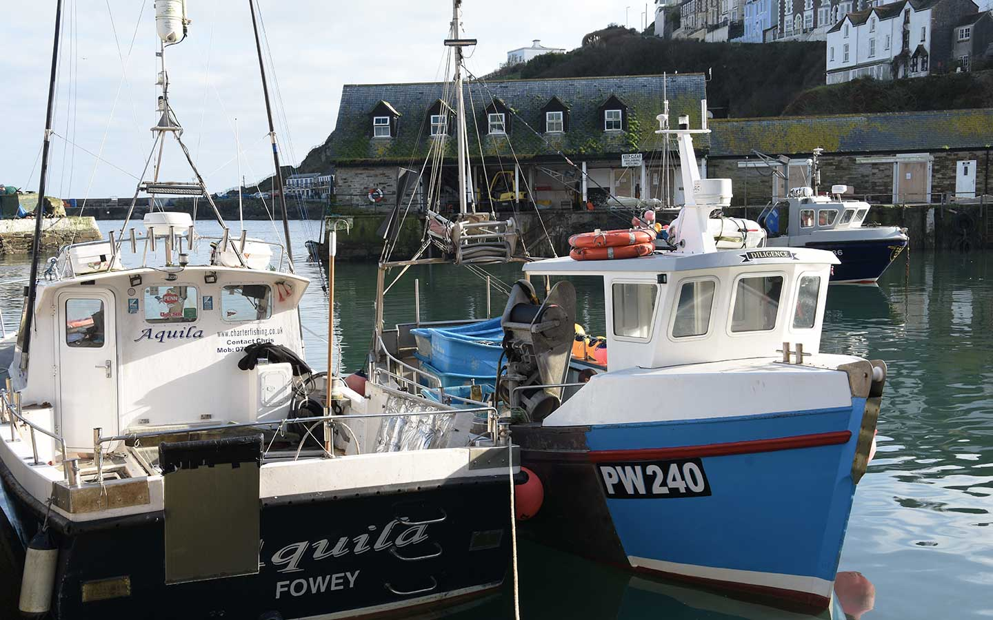 fishing boats in mevagissey in cornwall