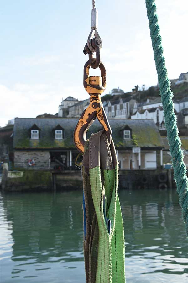 fishing hook in mevagissey harbour in cornwall, uk