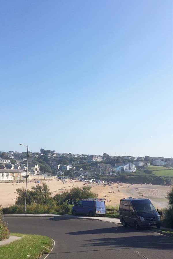 porth beach drive from watergate bay