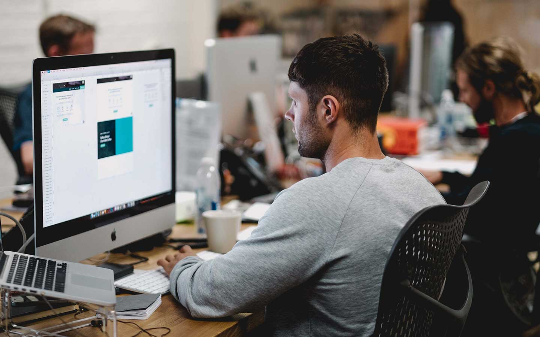 graphic designers in a design studio