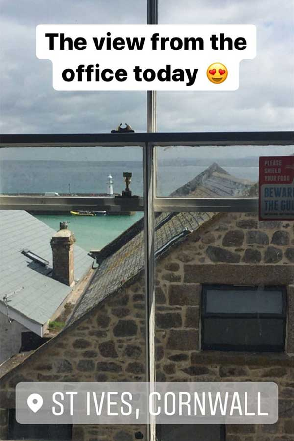 view of st ives from meor studio in cornwall