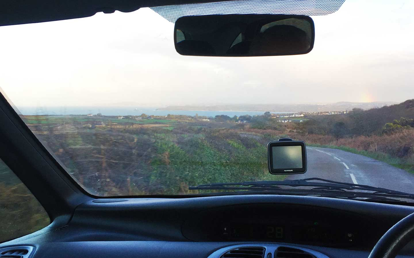 cornish drive from inside the car