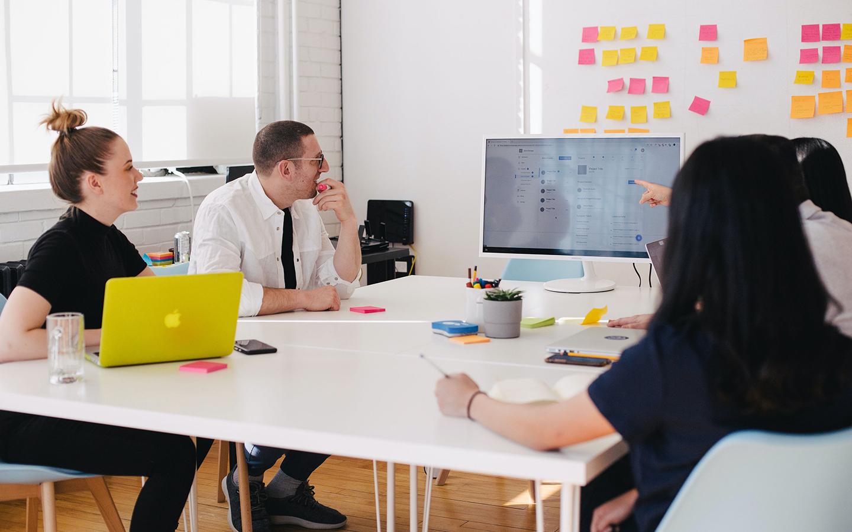 freelance graphic designer in a design studio
