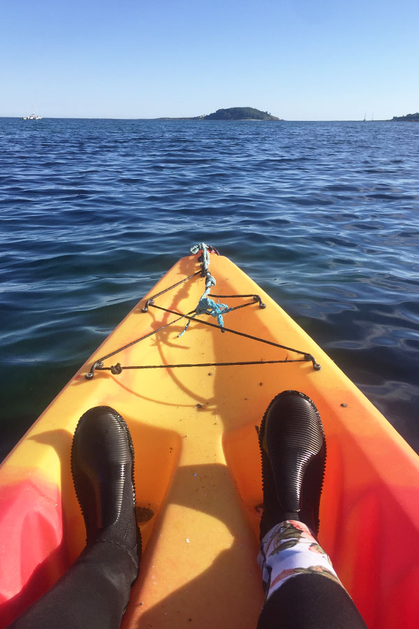 melissa carne in sea kayak near looe in cornwall